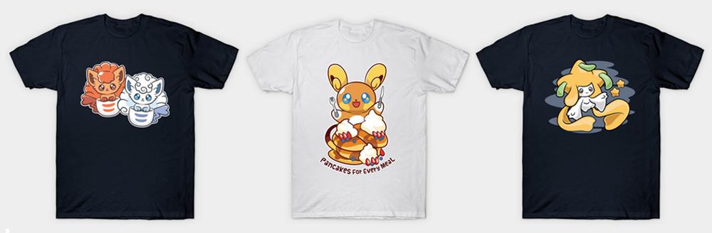Pokemon Mikitzune T-shirts Alola Raichu Vulpix Alola Vulpix Jirachi