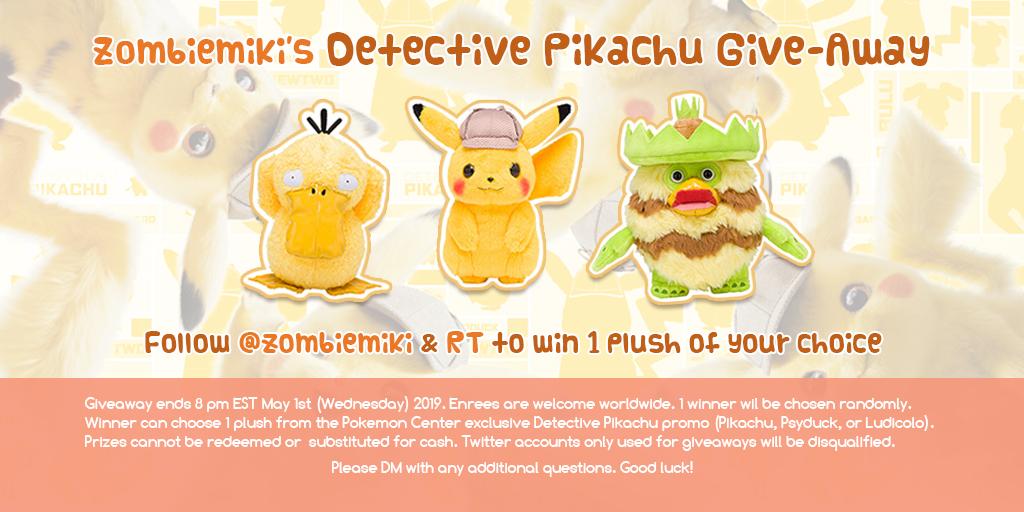 Mikitzune Zombiemiki Detective Pikachu Twitter Giveaway