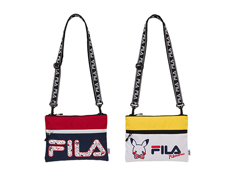 e8cbeddaa FILA T-Shirt (Delicious Water / Pikachu / Pikachu Face | Medium / Large) –  4,320 yen each. FILA Sacoche (Delicious Water / Saiko Soda) – 5,832 yen each